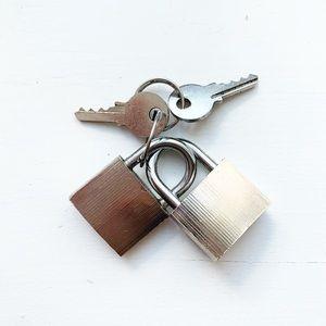 Set of two small steel padlocks & keys